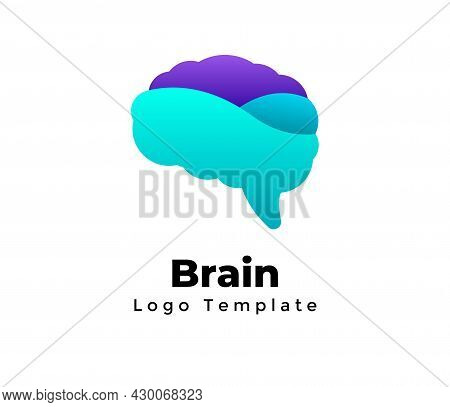 Creative Brain Vector Logo Template. Abstract Educational Status Sign. Science Medicine Element. Dig