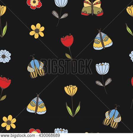Vector Seamless Pattern With Butterflies, Flowers On Black Background. For Decoration, Invitation Ba