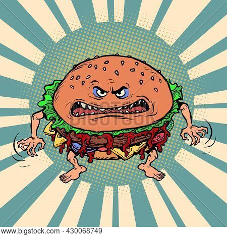 Angry Hungry Burger Character. Emotional Fast Food