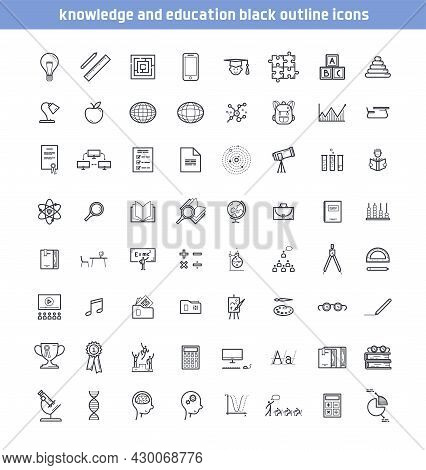 Set Of Knowledge And Education Icons. Collection Of Outline Fully Editable Vector Stroke Symbols Of