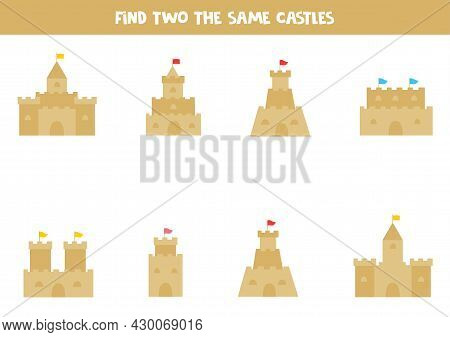Find Two The Same Sand Castles. Educational Logical Game For Kids.