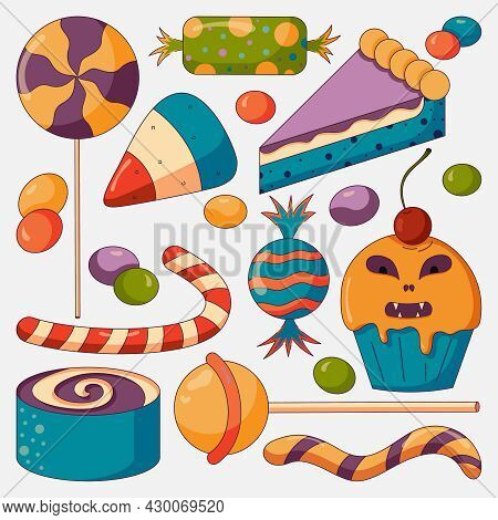 Sweet Candies Set For A Halloween Party, Jelly, Bonbon, Cupcake, Pie And Other Desserts In A Flat St