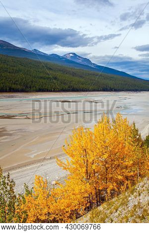 Cloudy autumn day. The Canadian Rockies. The shallow Medicine lake is fed by melted glacial waters. The lake is surrounded by mountain peaks.