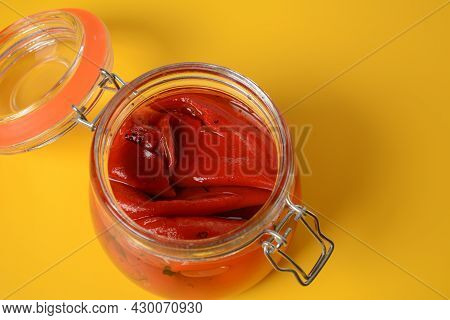 Delicious Sweet Red Pepper Pickles. Preserved, Marinated Red Sweet Peppers