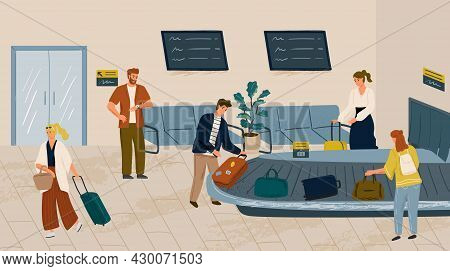 People Waiting For Bag At Airport Baggage Claim Area. Conveyor Belt With Luggage Concept Vector Illu