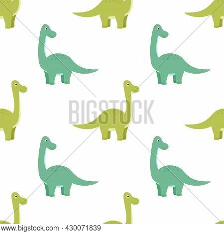 Bright Seamless Pattern With Dinosaurs, Vector Illustration