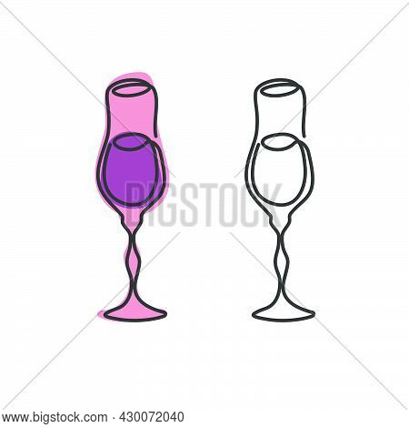 One Line Drawing Liquor Glass On White Background. Two Kinds Colored Cartoon Graphic Sketch And Blac