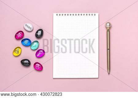 Bright Colored Rainbow Crystal, Notepad, Pen Layout On Pink Background Reiki Alternative Medicine Co