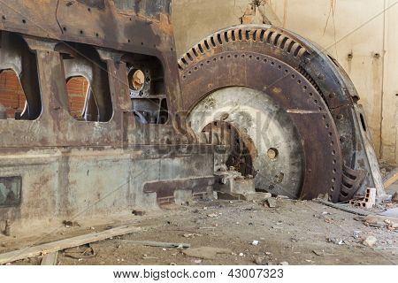 Old Diesel Engine With Rotor