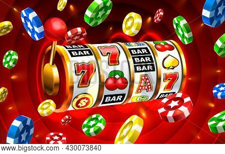 Casino Slots Icons, Slot Sign Machine, Night Vegas. Vector