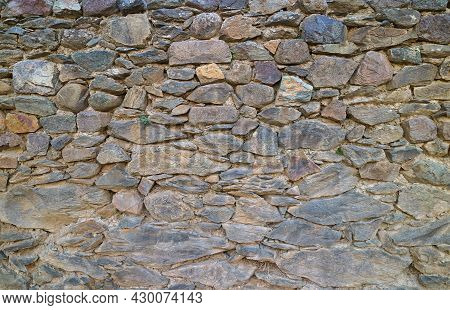 Ancient Stone Wall Inside The Ollantaytambo Inca Citadel , Urubamba Province, Historic Place In Cusc