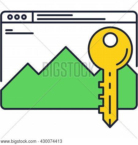 Webpage Under Key Secure Vector Icon Design