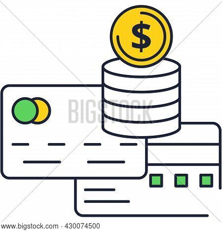 Debit And Credit Bank Card Vector Flat Icon