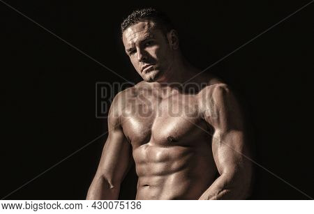 Sexy Naked Torso. Sport Workout Bodybuilding Concep. Muscular Torso And Chest. Isolated On Black Bac