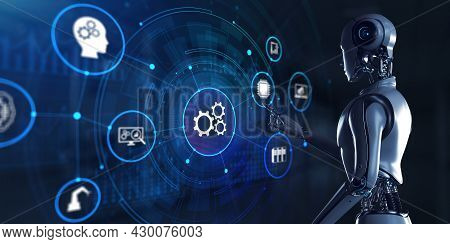 Gears Business Industrial Process Workflow Robotic Automation Rpa. Robot Pressing Button On Screen 3