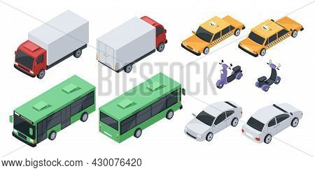 Isometric 3d City Transport, Transportation Vehicles, Cars. Front And Back View Of Sedan Car, Public