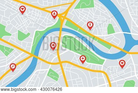 City Map Gps Navigation With Location Pin Markers. Urban Downtown Roads, Parks, River. Red Pointers