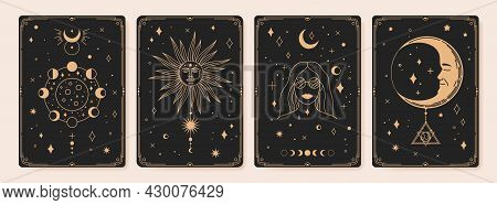 Mystical Astrology Tarot Cards, Bohemian Occult Card. Vintage Engraved Esoteric Cards With Moon Phas