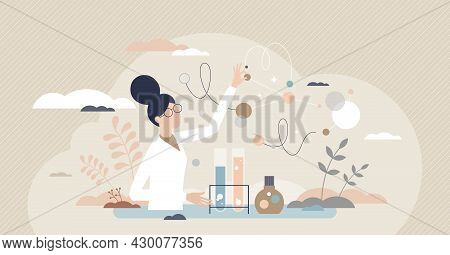 Woman Scientist As Professional Female Occupation Or Work Tiny Person Concept. Chemist Career With H