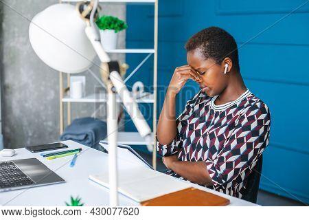 American Black Woman On Chair Thinking. Computer Technology. Internet Technology. Businessperson Hav