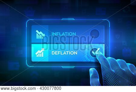 Deflation Or Inflation Choice Concept. Making Decision. Stock Or Forex Business And Finance Money. H
