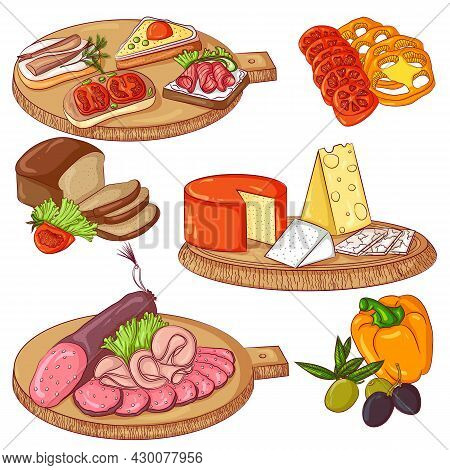 Appetizer Set. Vector Illustration Isolated On A White Background. A Set Of Sandwiches, Cheese, Saus