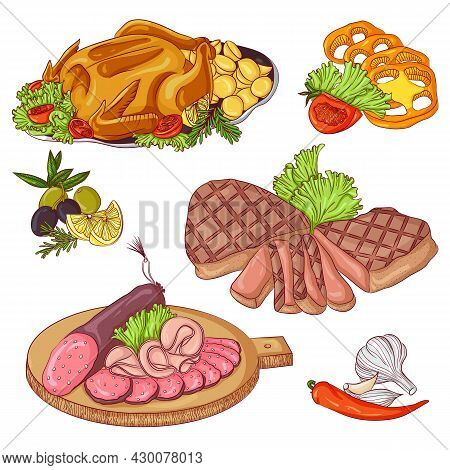 Meat Products Set. Vector Illustration Isolated On A White Background. Set Of Baked Chicken, Steak,