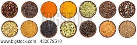 Set Of Spice In Clay Plate: Cloves, Mustard Seeds, Chili Pepper, Turmeric, Fennel, Allspice, Pepper,