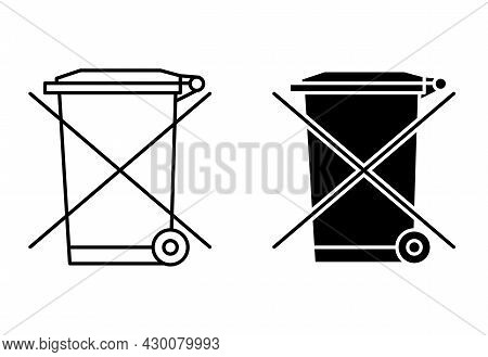 The Crossed Out Wheelie Bin. Waste Electrical And Electronic Equipment Recycling Sign. Forbidden Sig