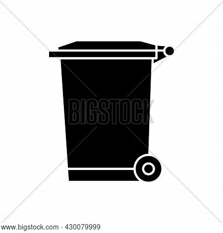 Recycle Bin For Trash And Garbage. Street Plastic Wheelie Waste Bin. Rubbish Container. Glyph Icon O