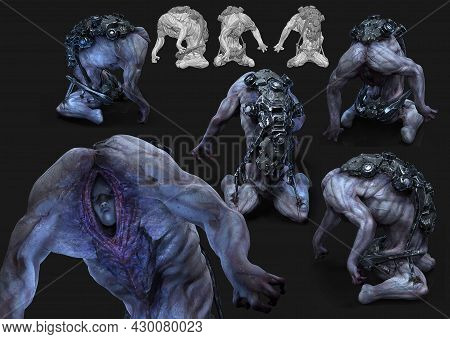 3d Rendering Of Imaginative Futuristic Science Fiction Fantasy Sick Creature Scary Nightmare From He