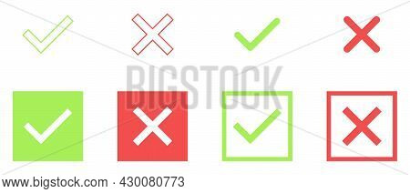 Set Of Colorful Tick And Cross. Simple Check Marks Icon. Yes Or No Accept And Decline Symbol. Button