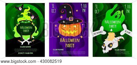 Vector Set Of Halloween Party Poster, Flyer, Invitation Card, Invite Template. Invitation Design In