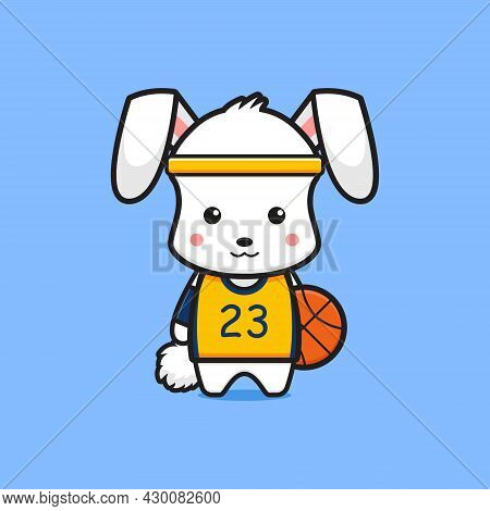 Cute Rabbit Basketball Player Cartoon Icon Illustration. Design Isolated Flat Cartoon Style