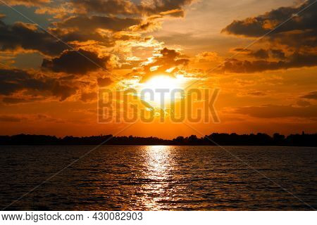 Colourful Sunset, Natural Dramatic Sunrise Seascape, Ocean Or Sea View, Nature Background, Copyspace