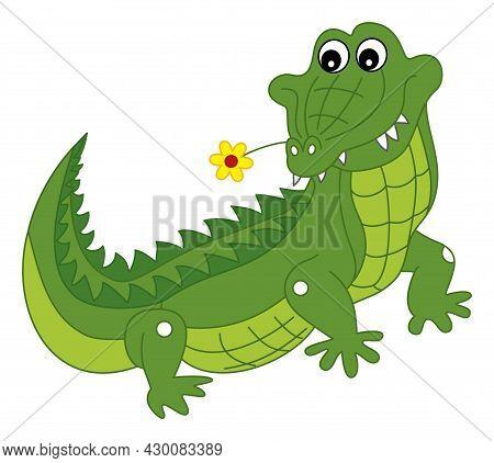 Cute Cartoon Green Crocodile Holding Flower In The Mouth. Vector Crocodile. Alligator Vector Illustr