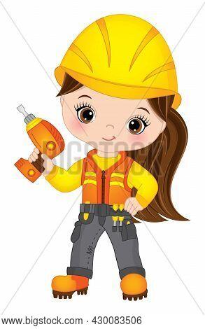 Vector Cute Little Girl Drilling. Vector Construction. Vector Little Brunette Girl Wearing Construct