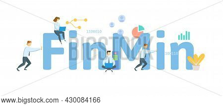 Finmin, Finance Minister. Concept With Keyword, People And Icons. Flat Vector Illustration. Isolated
