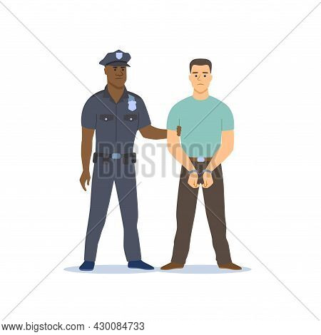 Police Officer Arresting The Criminal. Police Officer Holds Hand Of A Criminal In Handcuffs. Vector