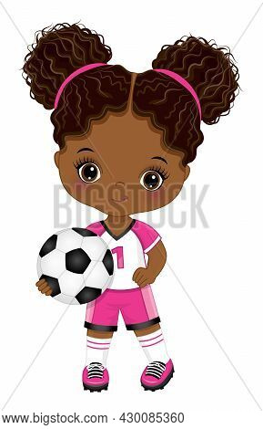 Cute Little Soccer Black Girl Wearing Pink And White Sport Outfit Holding Football Ball. Little Girl