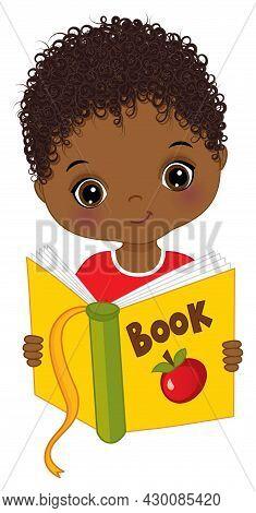 Cute Little Black Boy Reading Book. Vector Back To School. Little African American Boy Is Curly. Lit