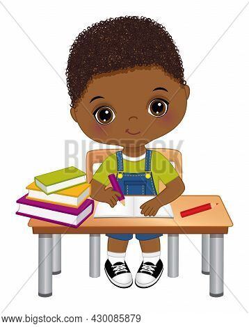 Cute Little Black Boy Sitting At Desk And Writing. Vector Back To School. Little African American Bo