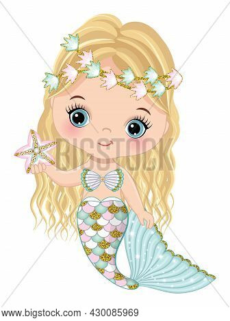 Cute Little Mermaid With Glitter Turquoise And Pink Fishtail Holding Starfish. Mermaid Is Blond With