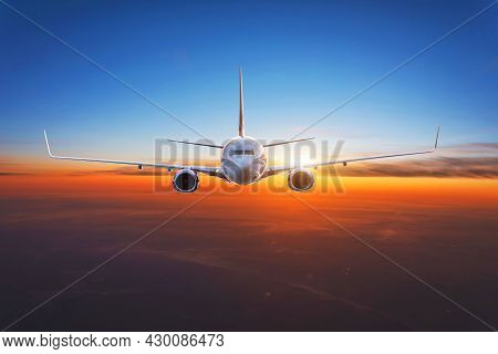 Dawn Is High In The Sky, The Plane Flies Exactly In The Frame