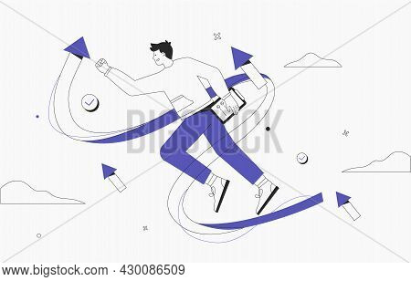 Business Vision, Strategy Success Concept. Launching A Business Project, Businessman On The Way To A