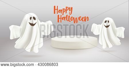 Happy Halloween. Ghosts With Empty White Podium For Your Product. Mockup. Ghosts On Grey Background