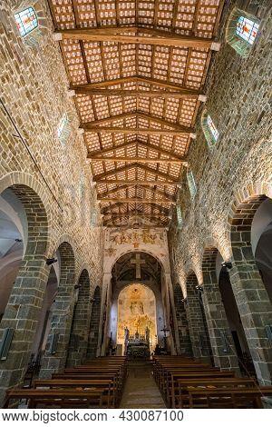 Corno Di Rosazzo, Italy - May 2021: The Abbey Of Rosazzo. View Of Interior Of San Pietro Church In C
