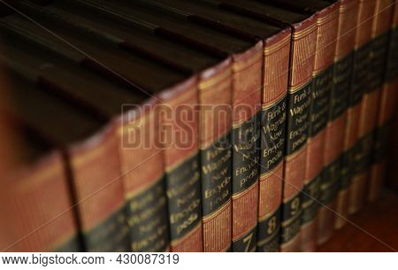 Jakarta, Indonesia-august 16, 2021: The Old Funk & Wagnalls Encyclopedia Lined The Bookshelf
