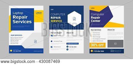 Laptop Repair Service Flyer Design Sample Idea. Computer Smartphone Repair Service Flyer Poster Leaf