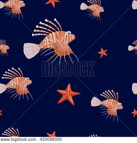 Marine Life Seamless Pattern. Lionfish And Starfish.